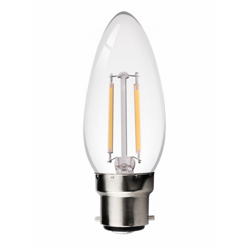 B22 LED Filament Candle 2W Glass bulb 360° beam angle in Warm White 2700K