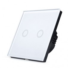 Luxury Digital Switch Crystal Glass Panel Touch LED Light Switch 2 Gang 1 Way in White colour