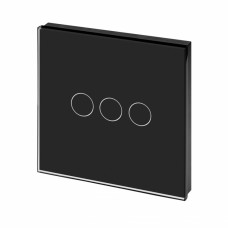 Luxury Digital Switch Crystal Glass Panel Touch LED Light Switch 3 Gang 1 Way in Black colour