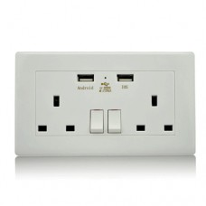 Double Wall Plug Socket w/USB port