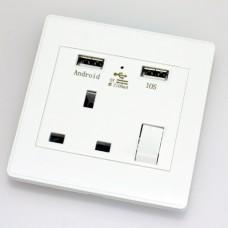Single Wall Plug Socket w/USB port