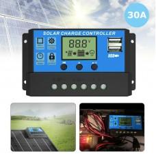 30A 12V 24V Solar Panel Charger Controller Battery Regulator USB
