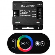 18A RF Touch Panel Wireless Remote Controller For RGB Led Strip DC12V 24V Black