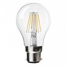 8W LED Filament bulb B22 Retro Style Classic Glass Cool White 6000K (dimmable)