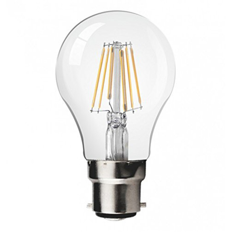 8W LED Filament bulb B22 Retro Style Classic Glass Warm White 2700K (dimmable)