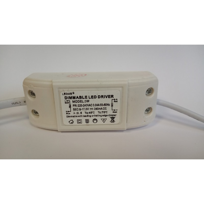 DIMMABLE CONSTANT CURRENT LED DRIVER 240mA 3W 9-17.5V POWER SUPPLY TRANSFORMER