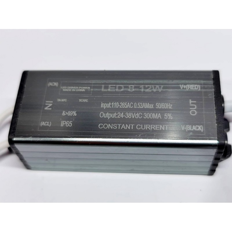 IP65 CONSTANT CURRENT LED DRIVER 300mA 8-12W DC 24-38V POWER SUPPLY TRANSFORMER
