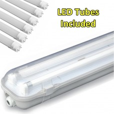 5ft DOUBLE Non Corrosive  Waterproof Batten Fittings IP65 with LED Tube