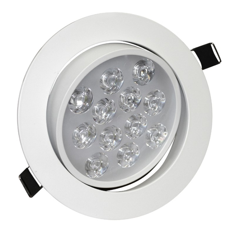 12W Tilt Angle Adjustment Recessed Spotlight LED Ceiling Downlight  in Cool White