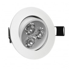 3W Tilt Angle Adjustment Recessed Spotlight LED Ceiling Downlight in Cool White