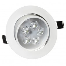 5W Tilt Angle Adjustment Recessed Spotlight LED Ceiling Downlight in Cool White