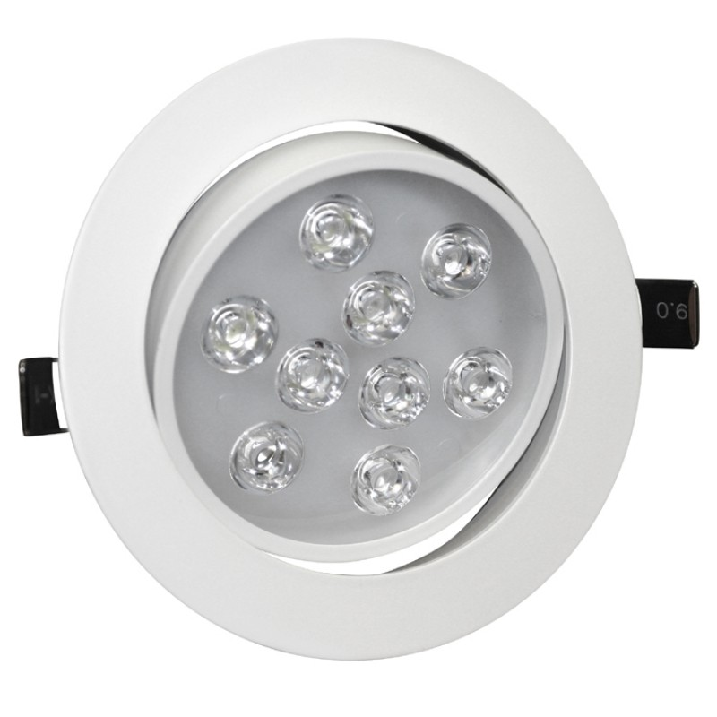 9W Tilt Angle Adjustment Recessed Spotlight LED Ceiling Downlight in Cool White