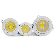 12W COB Tilt Angle Adjustment Recessed Spotlight LED Ceiling Downlight in Cool White 6000-6500K