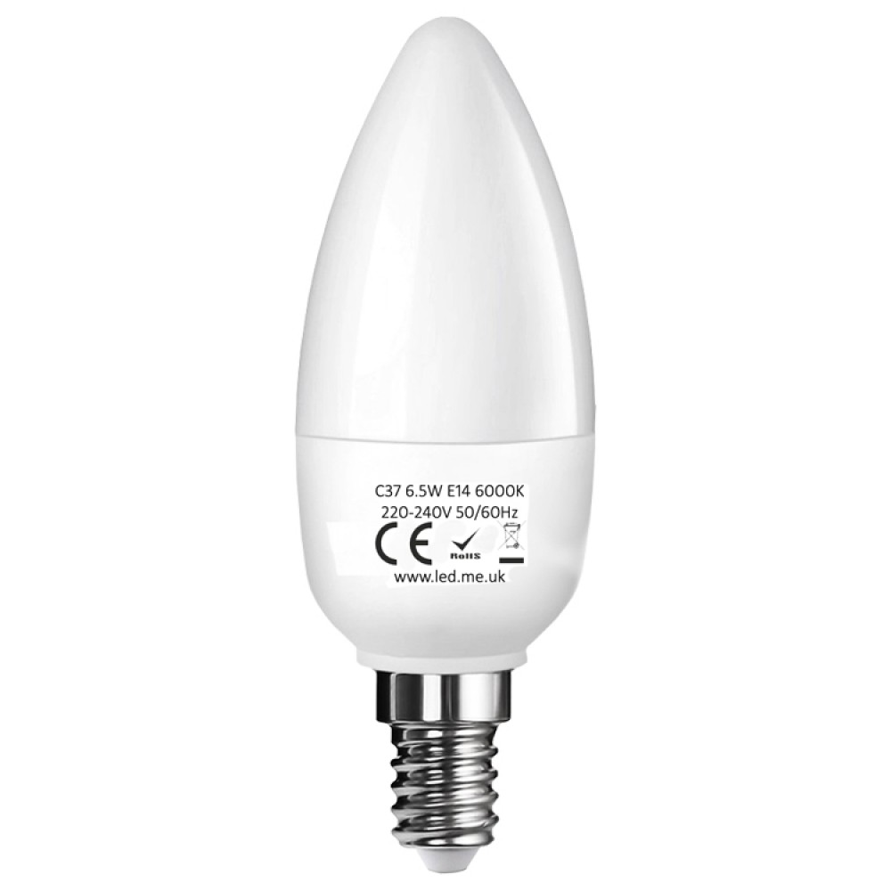 e14 led candle bulb 6 5w in cool white 6000k. Black Bedroom Furniture Sets. Home Design Ideas