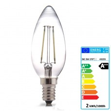 E14 LED Filament Candle 2W Glass bulb 360° beam angle