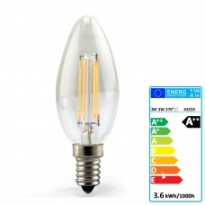 E14 LED Filament Candle 3.6W Glass bulb 360° beam angle