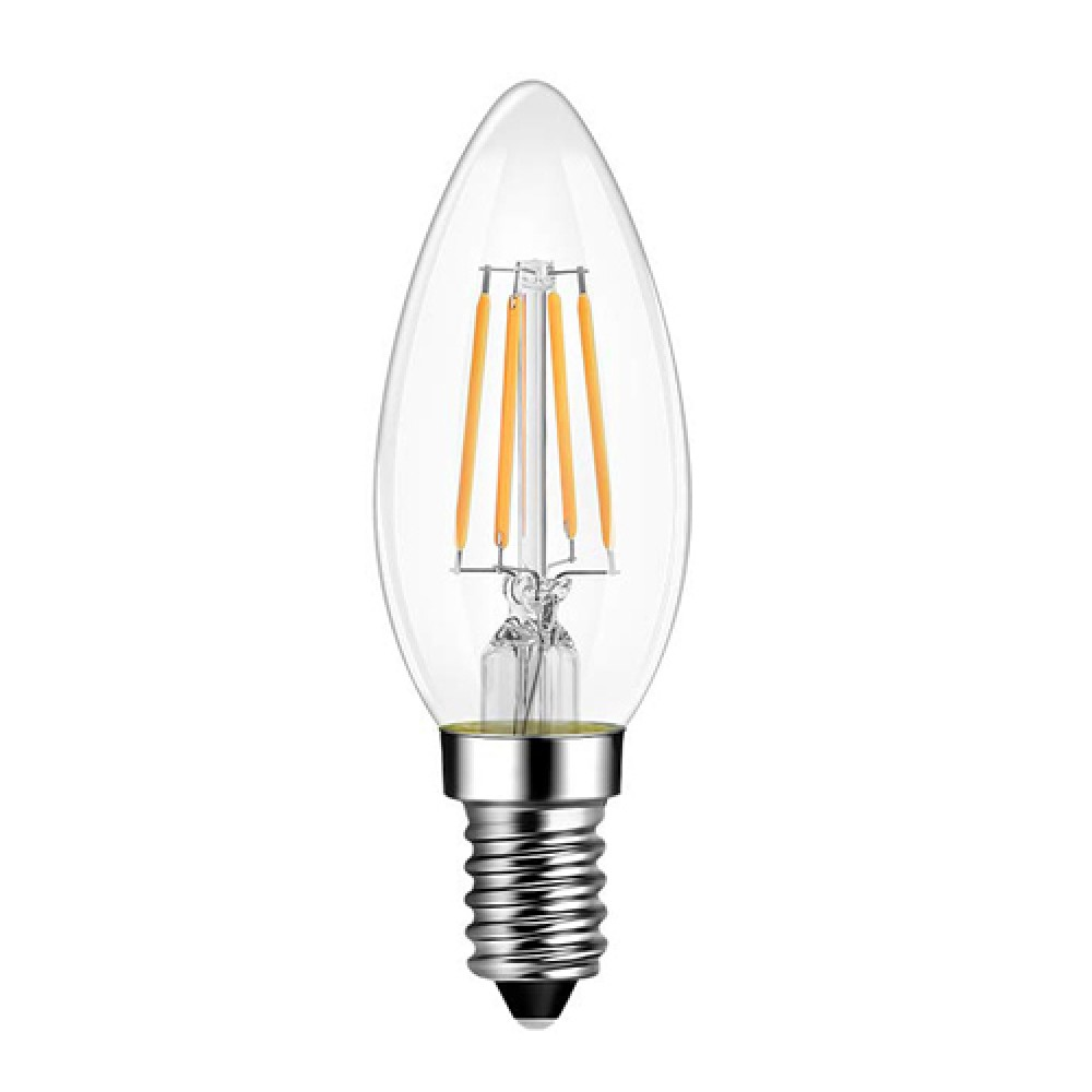 e14 led filament candle 6w glass bulb 360o beam angle