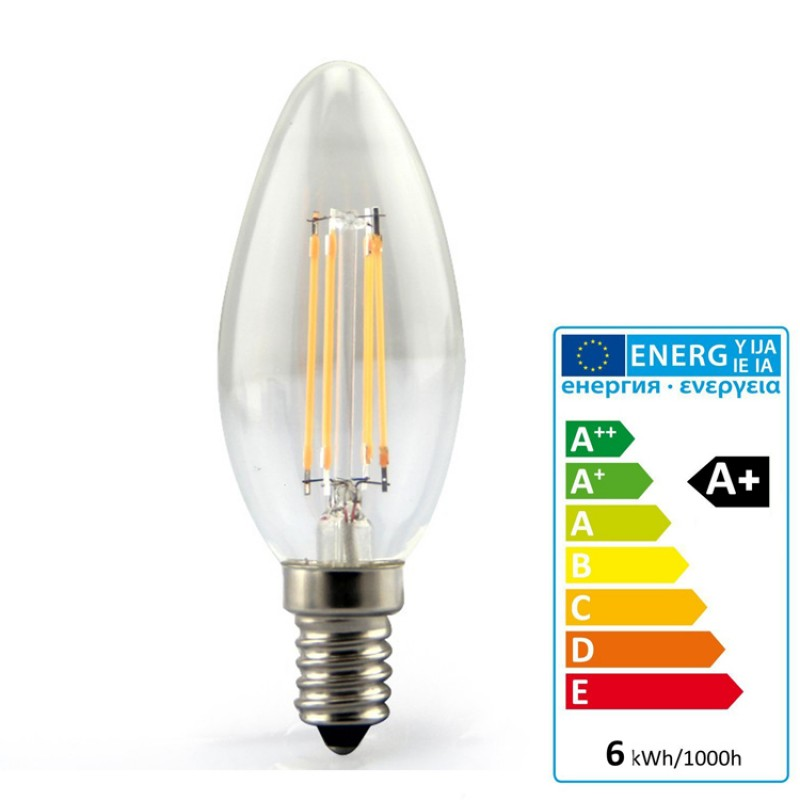 E14 LED Filament Candle 6W Glass bulb 360° beam angle
