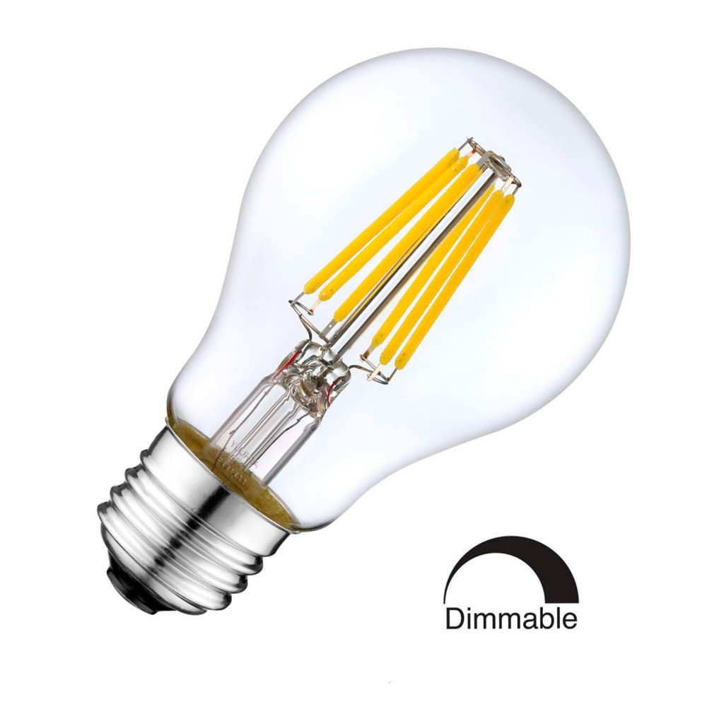 8w led filament bulb e27 retro style classic glass warm white 2700k ddimmable standard shape. Black Bedroom Furniture Sets. Home Design Ideas