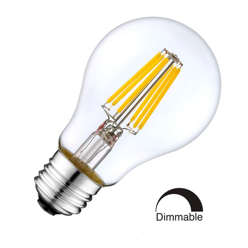 8W LED Filament bulb E27 Retro Style Classic Glass Warm White 2700K Ddimmable Standard Shape