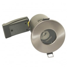 IP65 Bathroom Fire Rated GU10 Down Light Fitting in Brushed Chrome