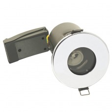 IP65 Bathroom Fire Rated GU10 Down Light Fitting in Polished Chrome