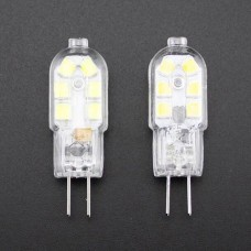 G4 LED Lamp Bulb DC12V High Brightness 12 x 2835SMD 2W Capsule in Clear Cristal Silicone Replace Halogen Energy Saving in Warm White 3200K