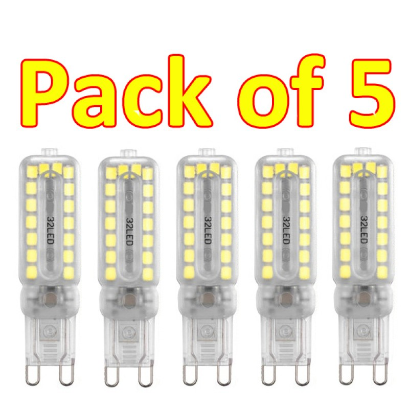 G9 7W 32 3528SMD  Led Frosted Cover Cool White 6000K  (pack of 5)