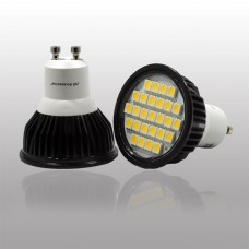 GU10 5.5W  LED Bulb in WARM WHITE in aluminium shell with cover