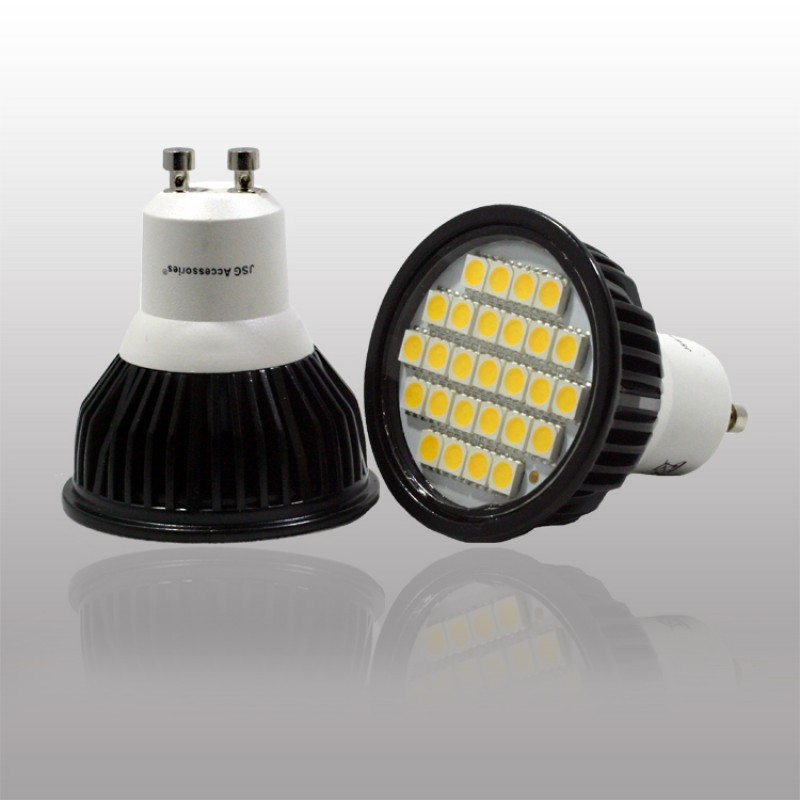 GU10 5.5W LED Bulb in COOL WHITE in aluminium shell with cover