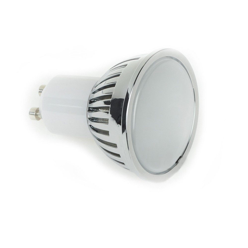 gu10 4w led bulb spot lamps in warm white in aluminium shell with frosted cover. Black Bedroom Furniture Sets. Home Design Ideas