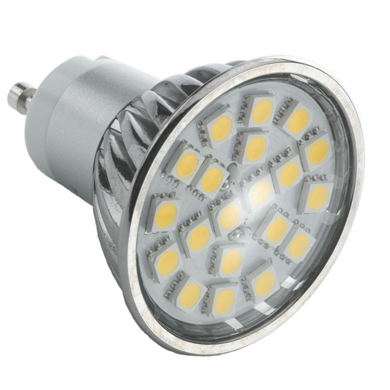 GU10 3.8W LED Bulb  Spot Lamps in WARM WHITE 24 SMD 5050 in Aluminium shell with glass cover
