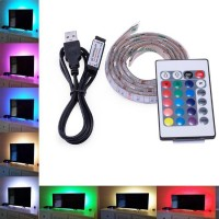 RGB MULTICOLOUR SMD5050 5V USB LED STRIP BACKLIGHT UNDER COUNTER LIGHT WITH REMOTE CONTROL 50CM LONG