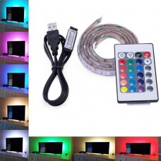 RGB MULTICOLOUR SMD5050 5V USB LED STRIP BACKLIGHT UNDER COUNTER LIGHT WITH REMOTE CONTROL 100CM LONG