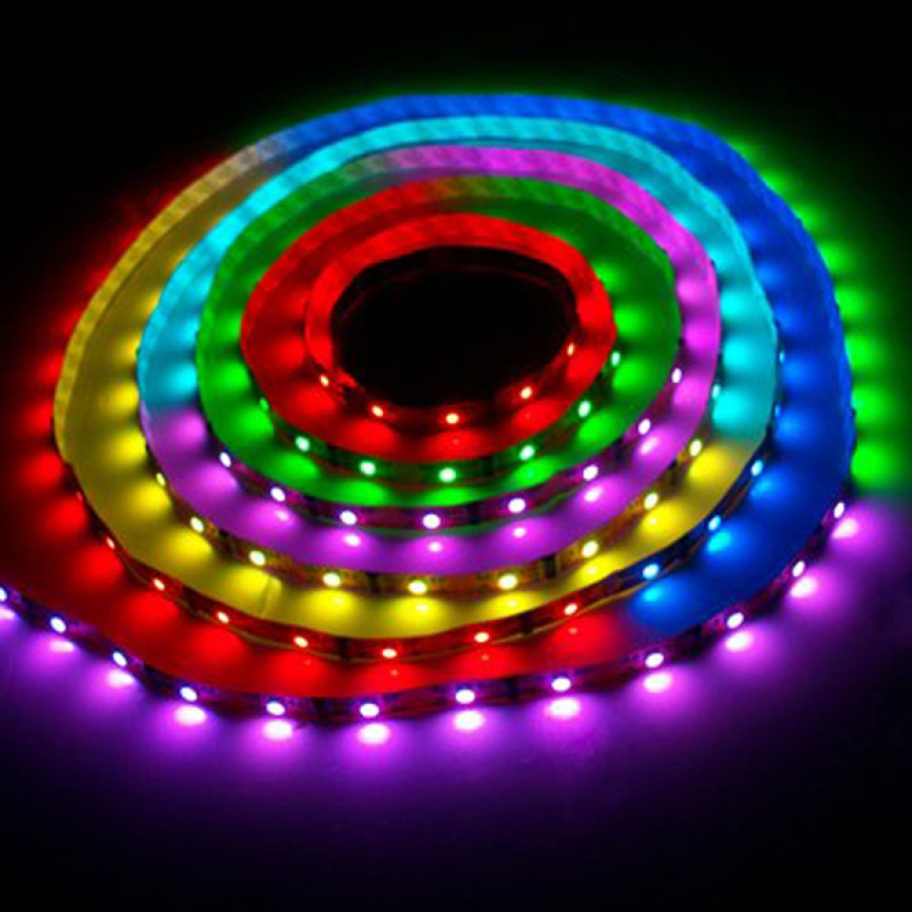 5m rgb led strip with power adapter and ir remote. Black Bedroom Furniture Sets. Home Design Ideas