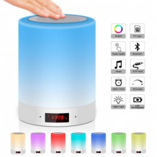Touch Sensor Night Light with Bluetooth Speaker Dimmable RGB LED Color Changing with Alarm Clock for Children