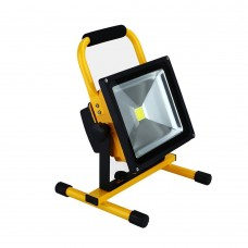 20W LED PORTABLE RECHARGEABLE FLOOD LIGHT WITH BRACKET IN COOL WHITE 6000K IP65 WATERPROOF FOR WORKSHOP GARAGE HOME CAMPING