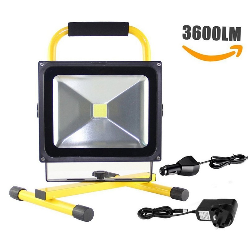 30W LED PORTABLE RECHARGEABLE FLOOD LIGHT WITH BRACKET IN COOL WHITE 6000K IP65 WATERPROOF FOR WORKSHOP GARAGE HOME CAMPING