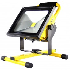 50W LED PORTABLE RECHARGEABLE FLOOD LIGHT WITH BRACKET IN COOL WHITE 6000K IP65 WATERPROOF FOR WORKSHOP GARAGE HOME CAMPING
