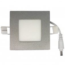 Light Boat Car Truck RV Emergency Light 3W Square Recessed Ultra-slim Ceiling LED Lamp 12V in Warm White 3200K with Silver Trim