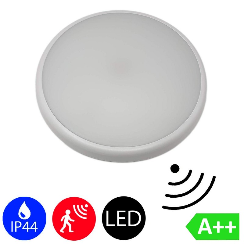 16W Radar Motion Sensor Slim LED Downlight Surface Mounted Light Bathroom Lamp in Cool White 6000K